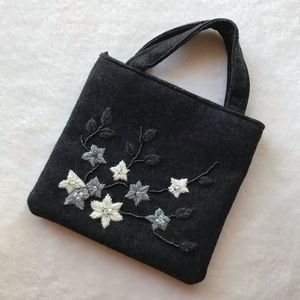 Gray Mini Tote / Purse With Embroidered Flowers